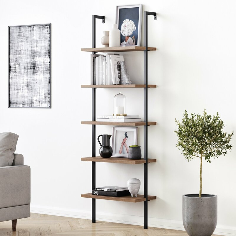 "Zachary 72.5"" H x 24"" W Metal Ladder Bookcase"