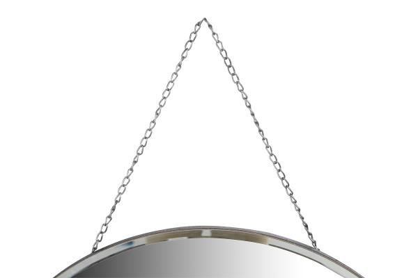 Round Frameless Wall Mirror with Decorative Chain