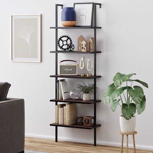 Moskowitz Standard Bookcase Walnut Brown Wood, Black Metal Frame