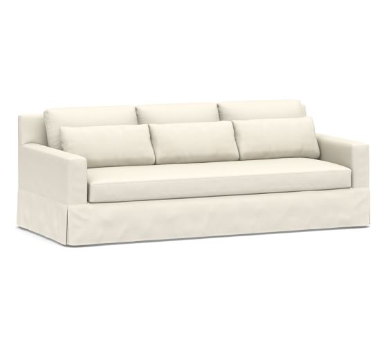 "York Deep Square Arm Slipcovered Grand Sofa 94"" with Bench Cushion, Down Blend Wrapped Cushions, Sunbrella(R) Performance Boss Herringbone Ecru"