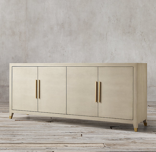 GRAYDON SHAGREEN PANEL 4-DOOR SIDEBOARD - Bone Shagreen & Solid Burnished Brass