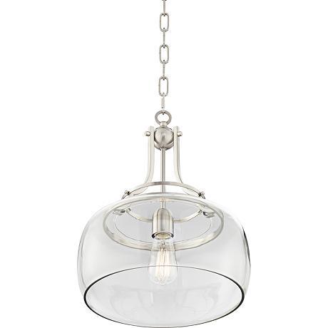 "Charleston 13 1/2"" Wide Brushed Nickel LED Pendant Light"