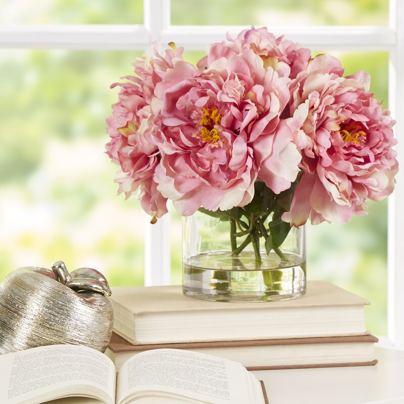 Scollfyld Pink Peony in Acrylic Water Glass Vase