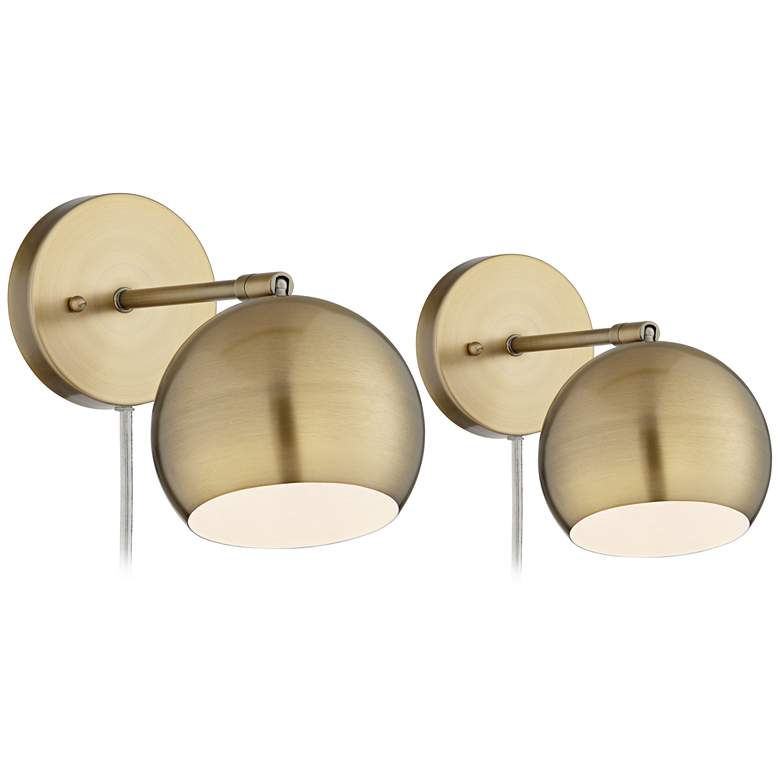 Selena Brass Sphere Shade Pin-Up LED Wall Lamps Set of 2 - Style # 34A85