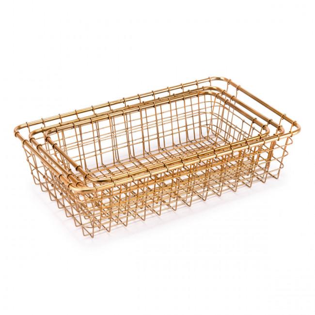 Set Of 3 Baskets Gold