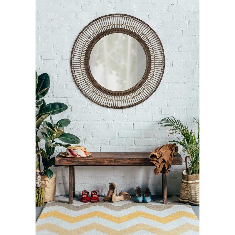 Fleeton Round Rattan Frame Accent Wall Mirror