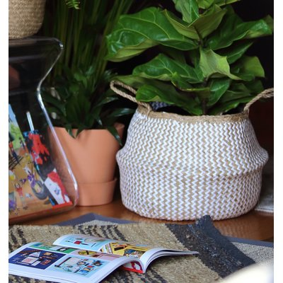 Natural Woven Wicker Tote Belly Basket