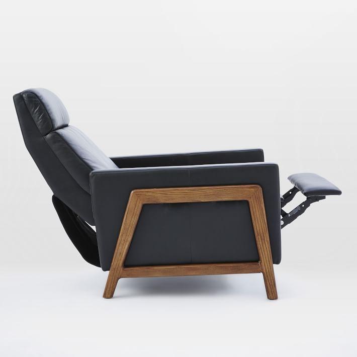 Spencer Wood Framed Recliner, Nero, Pecan Legs-Individual