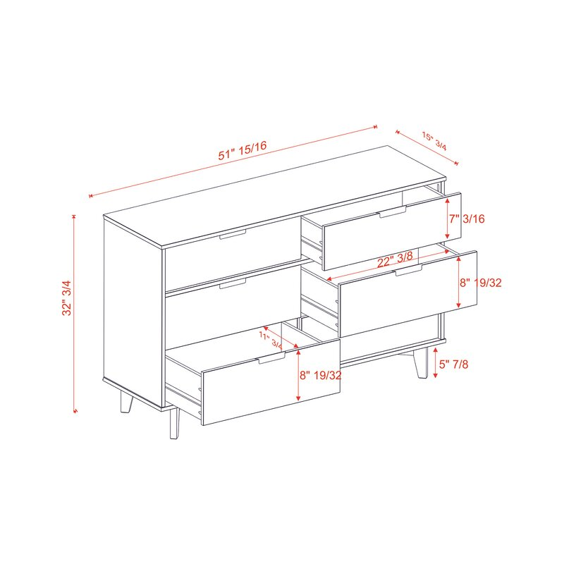 Cecille Groove 6 Drawer Double Dresser