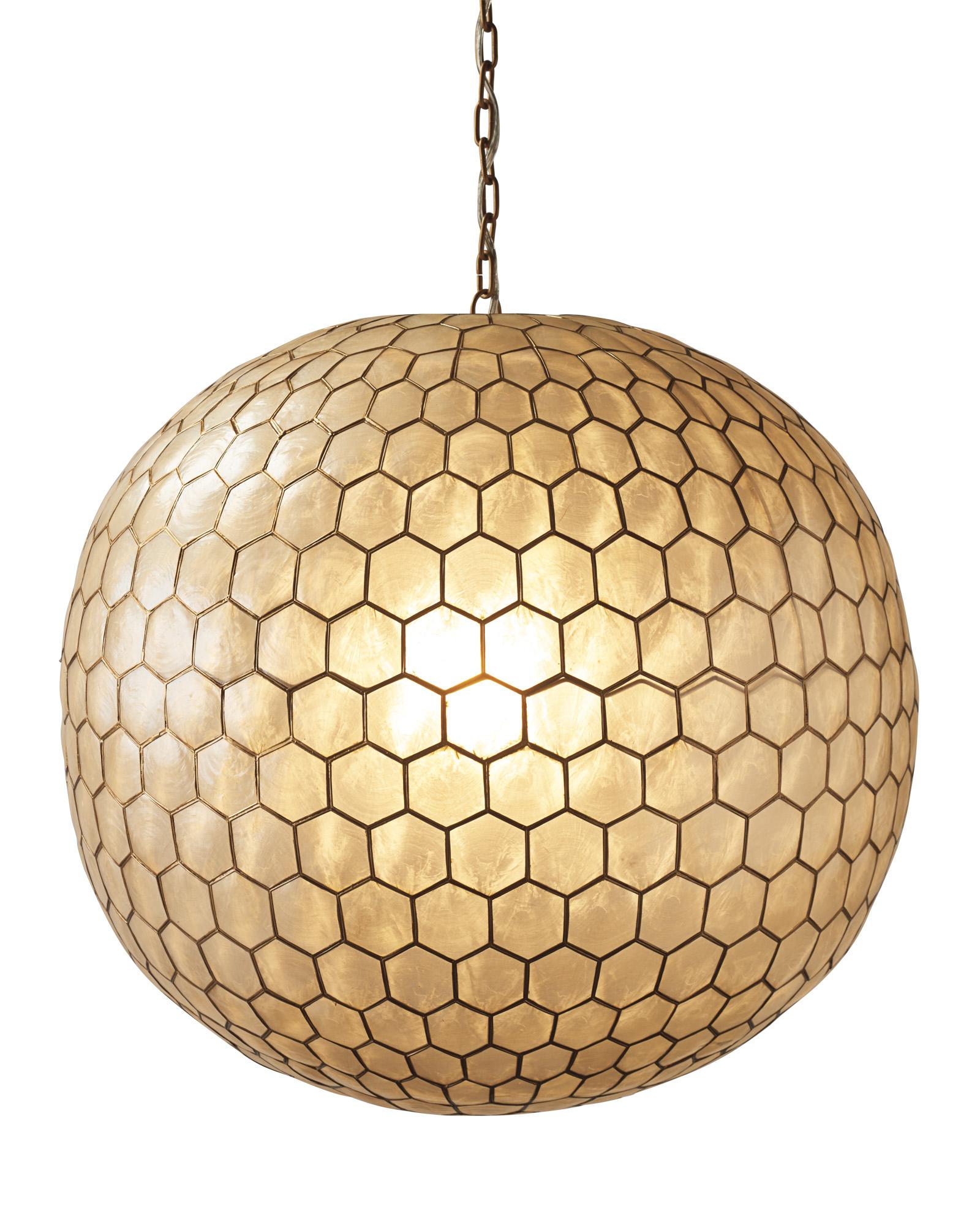 Capiz Honeycomb Chandelier - Large