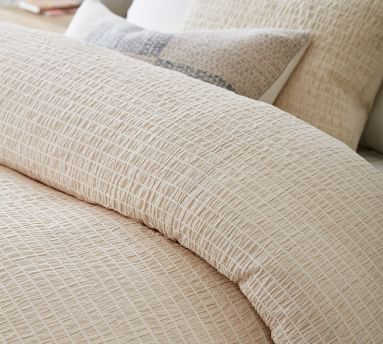 Beck Ruched Cotton Duvet Cover, King/Cal King, White