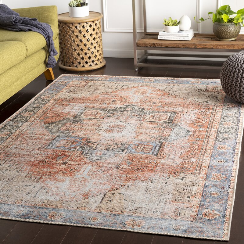Mya Oriental Terracotta/Camel/Pale Blue Area Rug - Backordered June 26th