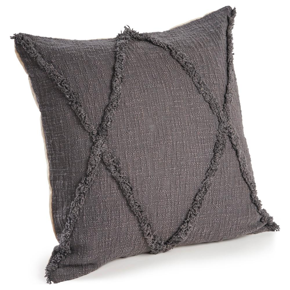 Carlton Charcoal Diamonds Indoor 20 in. x 20 in. Throw Pillow, Dark Grey