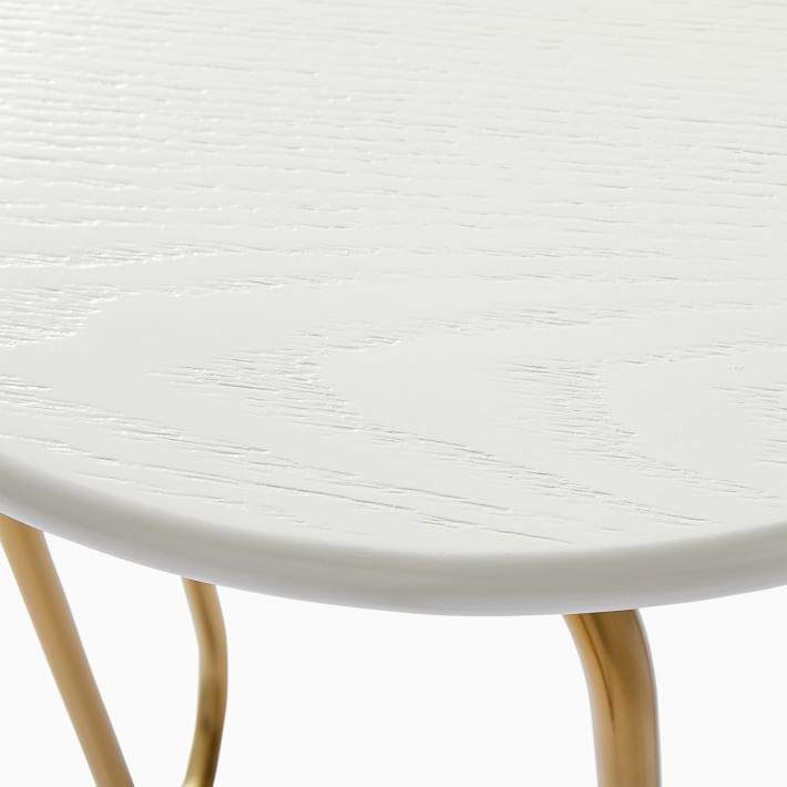 Cecile Side Table, Oyster, Antique Brass
