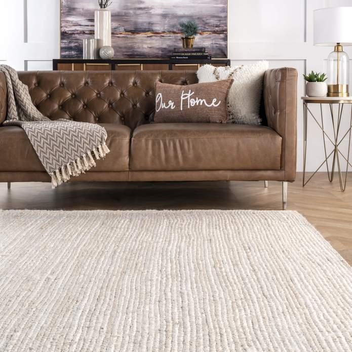 Hand Woven Rigo Jute rug Area Rug, 8' x 10', White