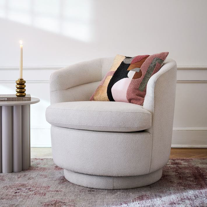 Viv Swivel Chair, Light Taupe, Distressed Velvet-Individual