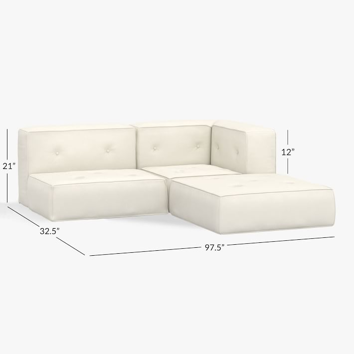 Cushy Piped Trim Sectional Set, Recycled Chenille Washed Ivory, QS In-home