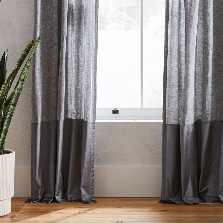 """Belgian Flax Linen + Luster Velvet Curtain, Slate + Pewter 48""""x 96"""""""