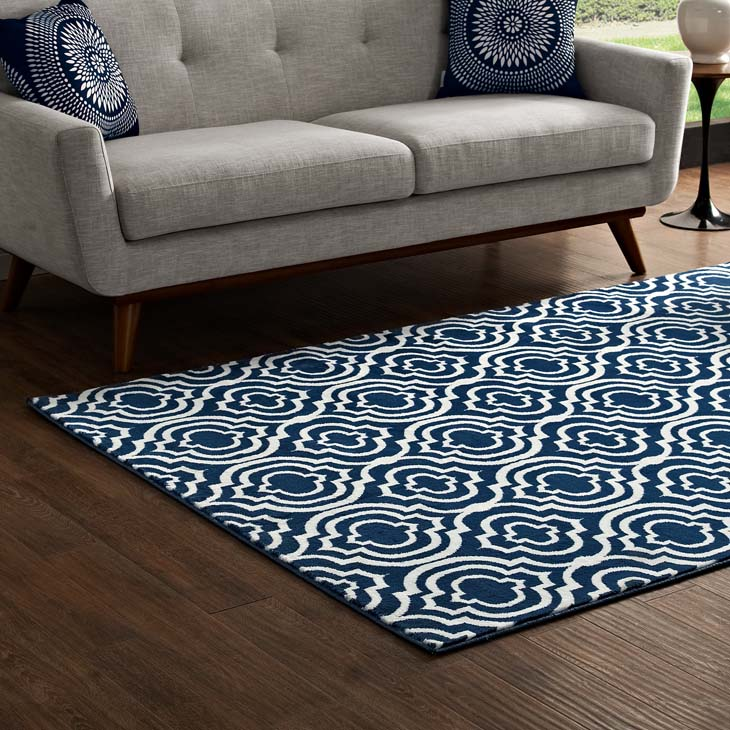 FRAME TRANSITIONAL MOROCCAN TRELLIS 5X8 AREA RUG IN MOROCCAN BLUE AND IVORY
