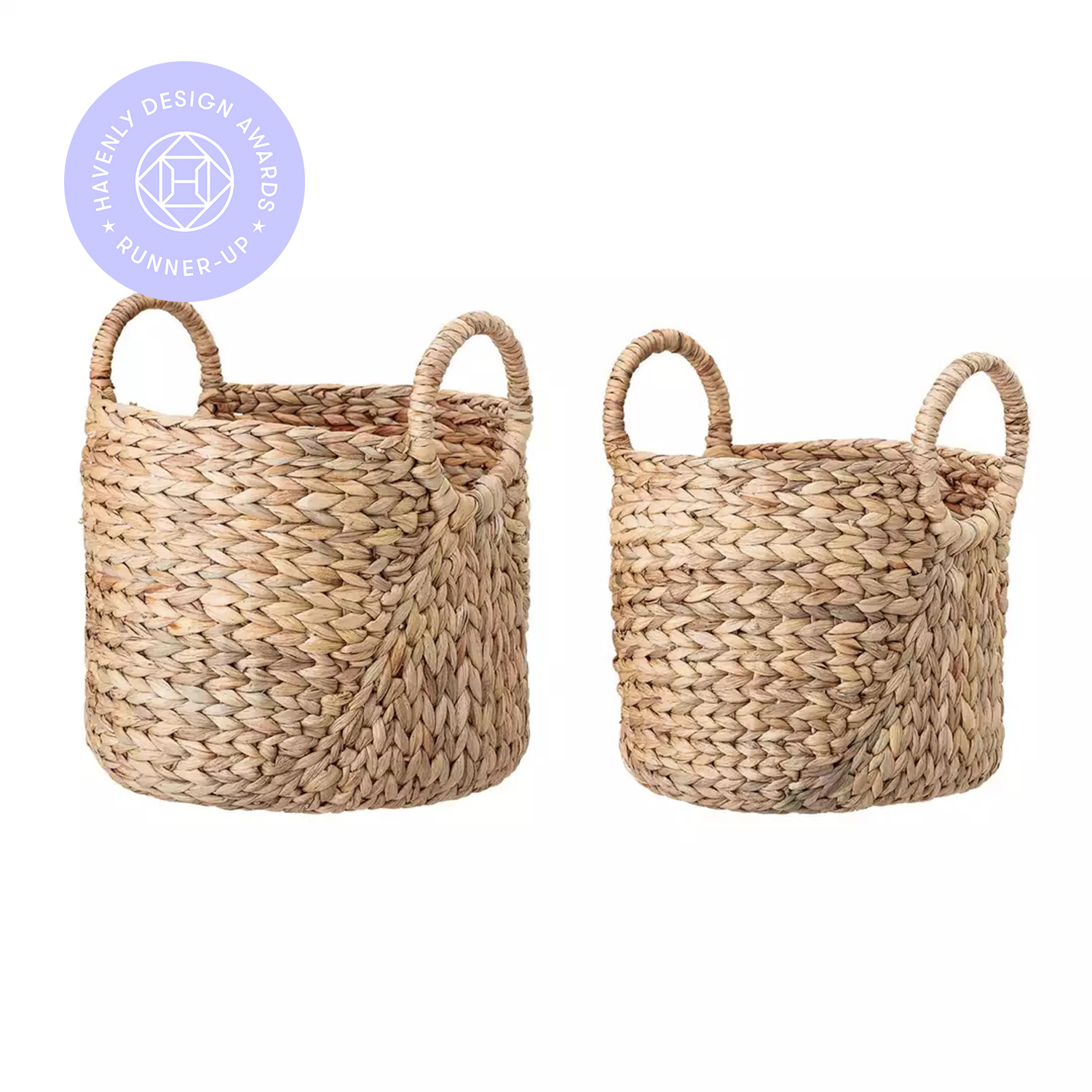 Handwoven Beige Seagrass Baskets with Round Handles (Set of 2 Sizes)