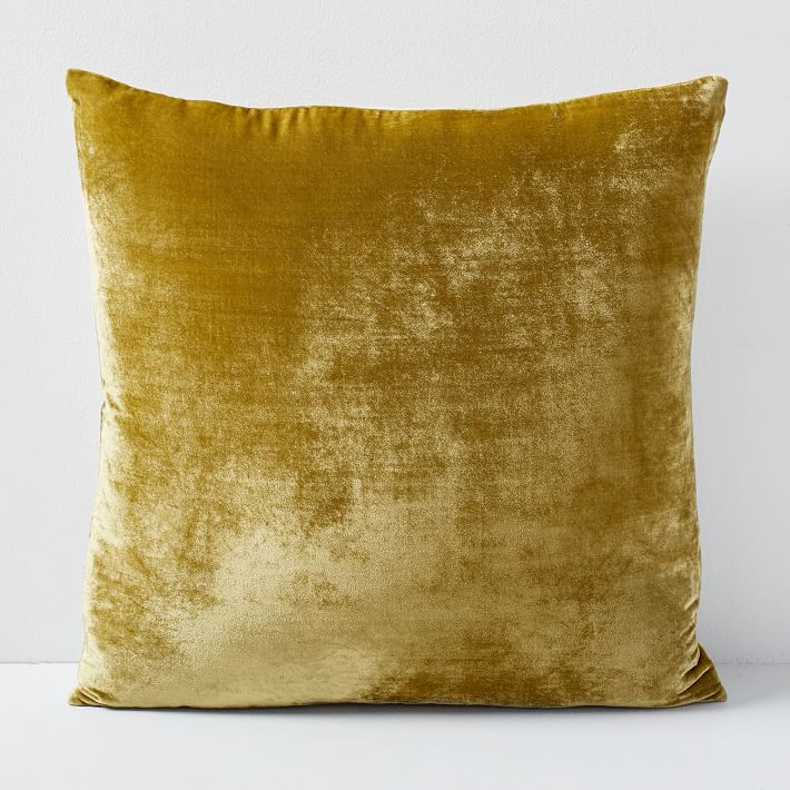"Lush Velvet Pillow Cover, Wasabi, 20""x20"", Set of 2"
