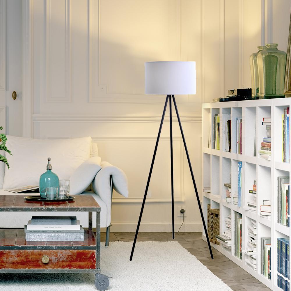 Catalina Lighting 61.25 in. Black Metal Tripod Floor Lamp with Linen Shade