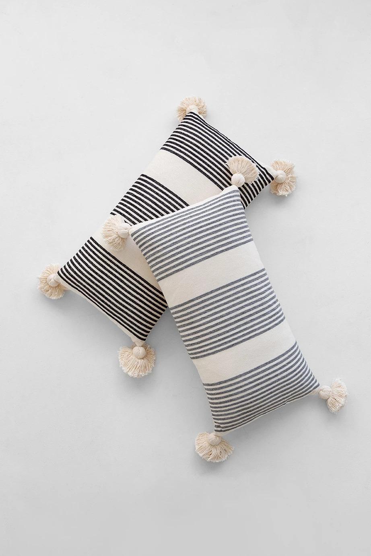 "Perry Striped Lumbar Pillow, Black, 27"" x 14"""
