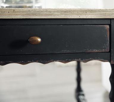 Stelio Square Wood End Table, Black & Distressed White