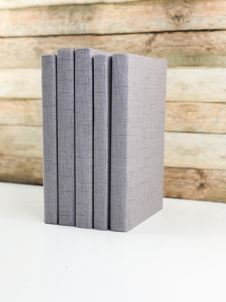 Set of 3 Decorative Books- Textured Gray