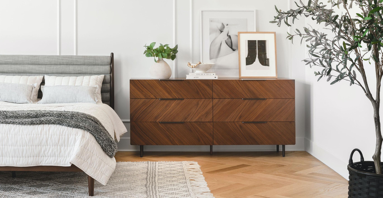 Nera Walnut 6 Drawer Dresser