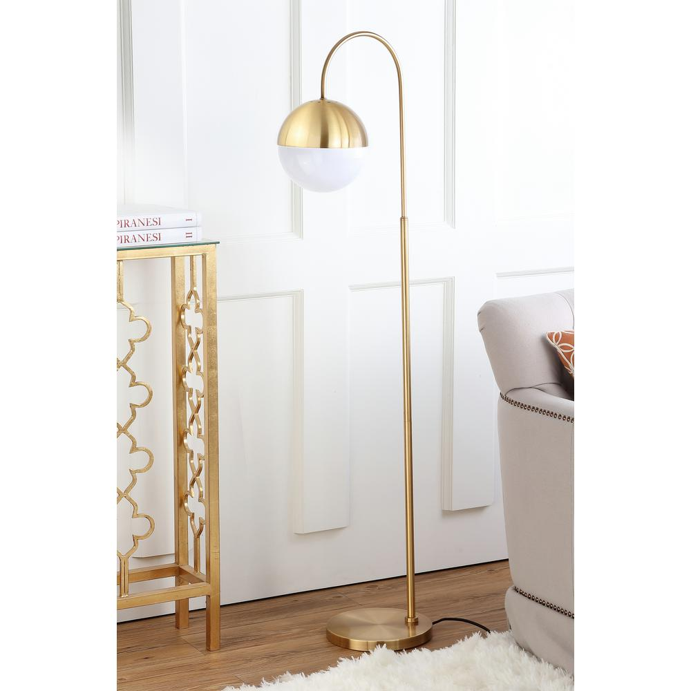 Safavieh Jonas 55.5 in. Brass Gold Floor Lamp with White Shade