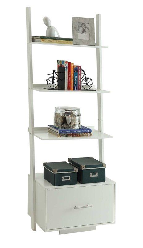 Carlucci Ladder Bookcase, white
