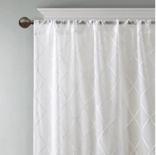Madison Park Iris White 50 in. x 84 in. Diamond Sheer Window Curtain