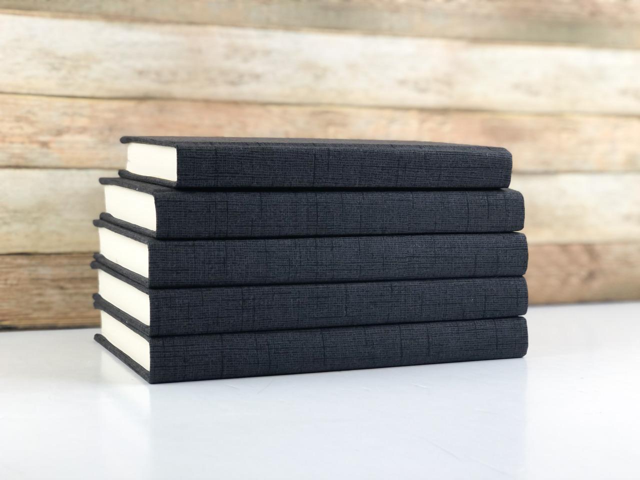 Set of 5 Decorative Books- Textured Black