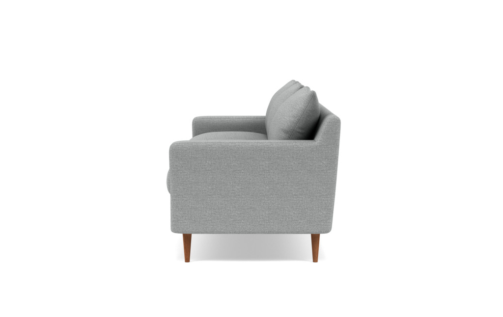 """Custom Sloan 3-Seat Sofa in Performance Pebble Knit Dove (Kid & Pet Friendly) with Oiled Walnut Tapered Round Wood Legs - 95"""""""