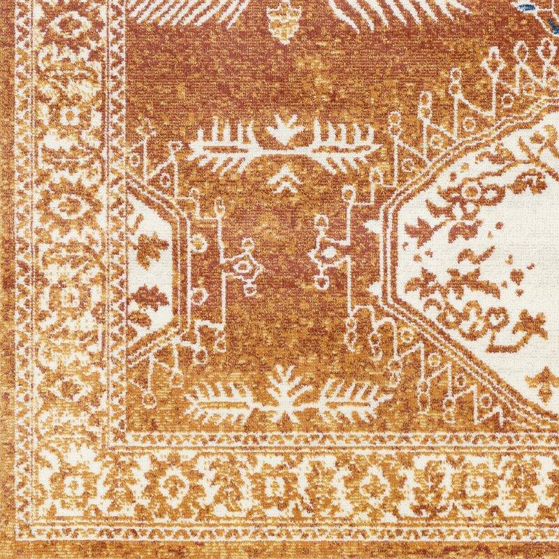 Purdin Oriental Rust/Saffron Indoor/Outdoor Area Rug