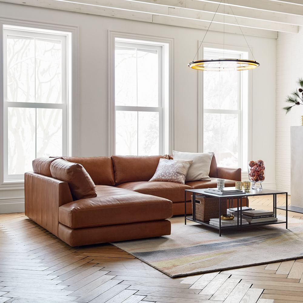 Haven Leather 2-Piece Terminal Chaise Sectional, Left 2 Piece Terminal Chaise Sectional. Nut Saddle Leather