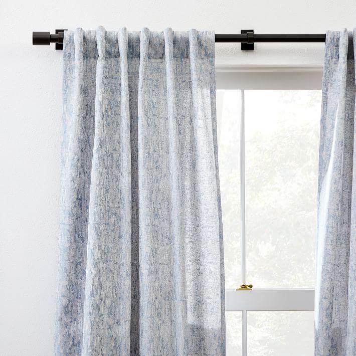 "Woodland Shine Jacquard Curtain, Hazy Blue, 48"" x 84"""