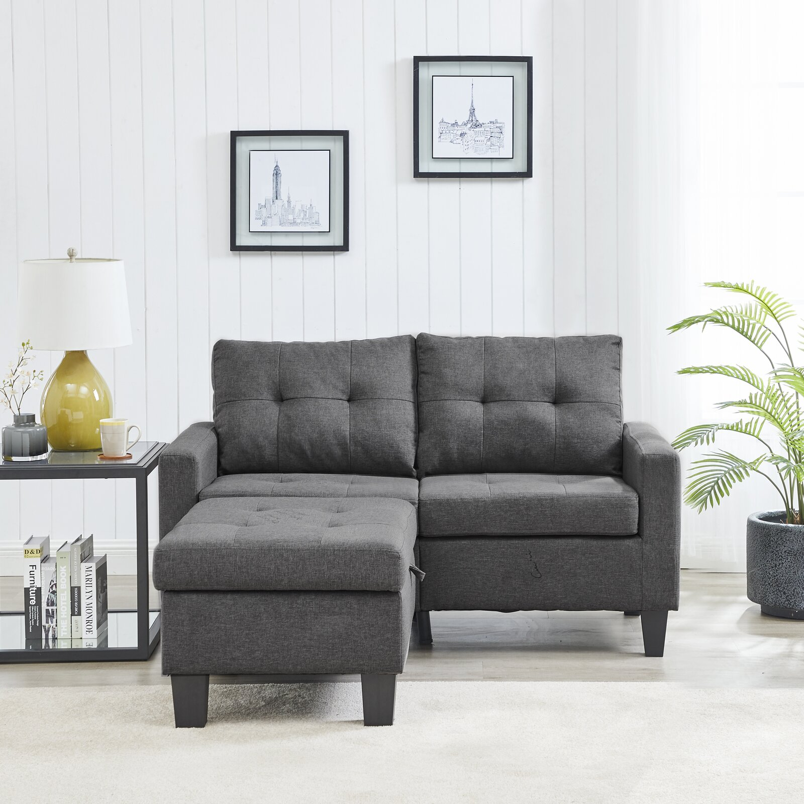 """Stoystown 61"""" Reversible Modular Sofa & Chaise with Ottoman"""