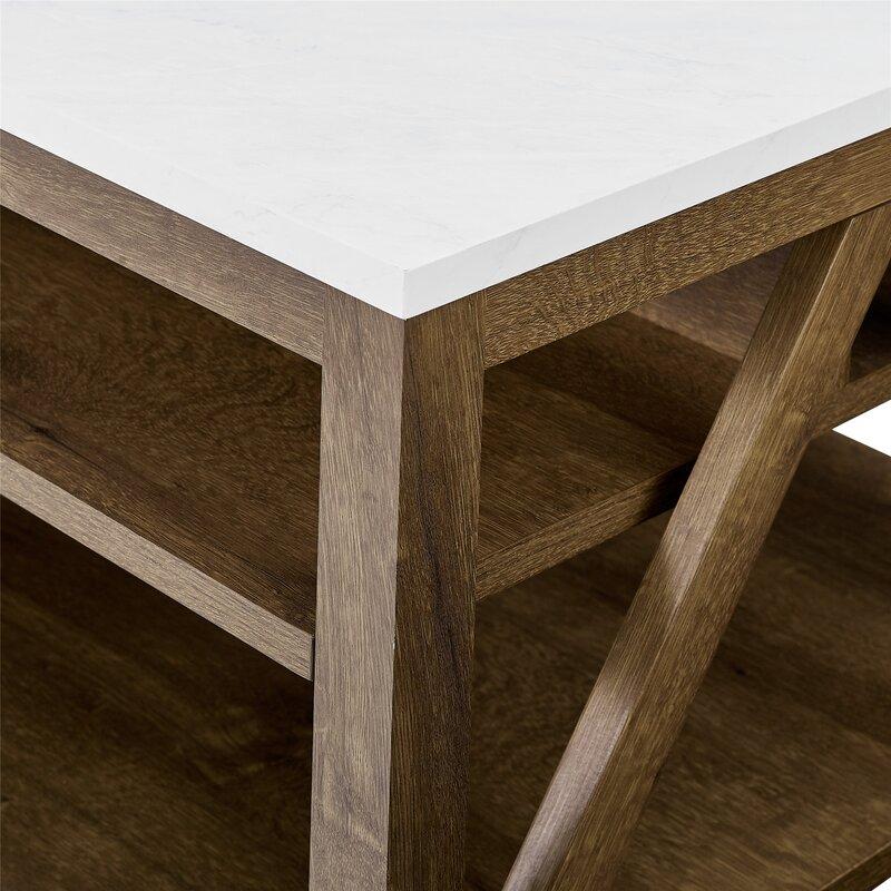Vonda Coffee Table with Storage / White Marble/Natural Walnut