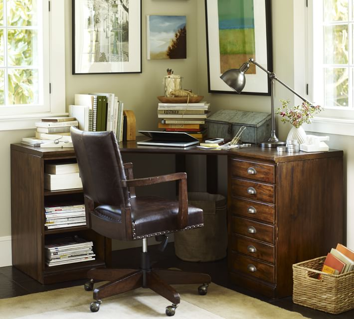 Printer's Corner Desk (1 File Cabinet, 1 Bookcase Ped, 1 Corner Desktop With Legs), Tuscan Chestnut
