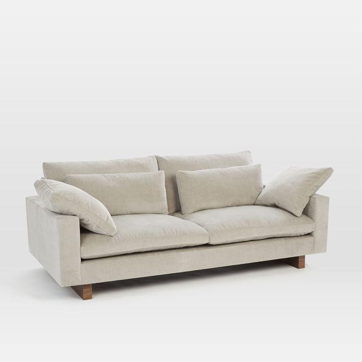 "Harmony Grand 92"" Sofa, Distressed Velvet, Light Taupe"