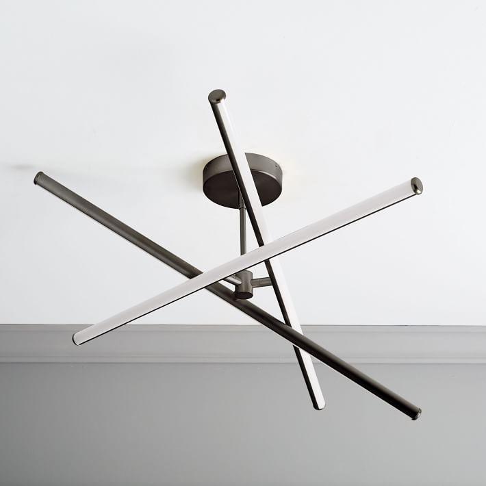 Light Rods LED Chandelier/Flushmount, Dark Bronze