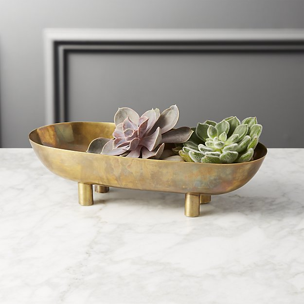 gleam brass footed bowl - 2.75H