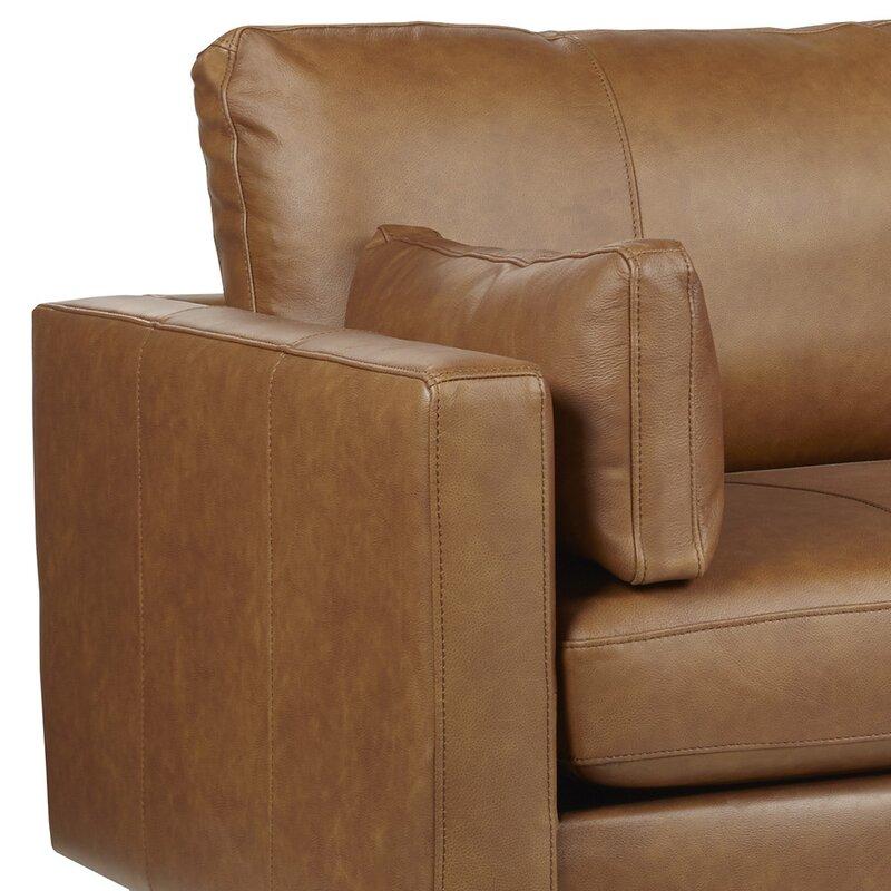 "Gaia Genuine Leather 81"" Square Arm Sofa"