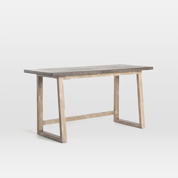 Concrete-Topped Mixed Wood Desk