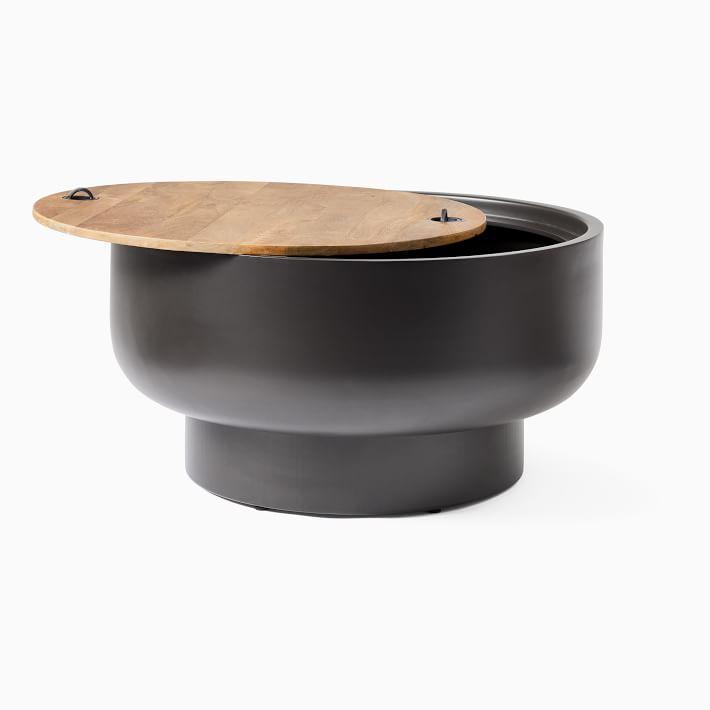 Drum Storage Coffee Table, Burnt Wax, Bronze