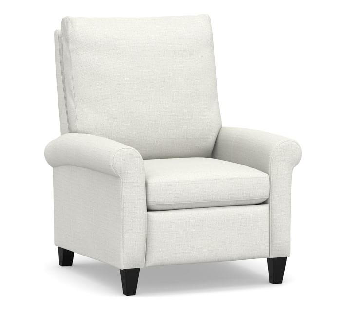 Simon Roll Arm Upholstered Recliner, Polyester Wrapped Cushions, Basketweave Slub Ivory