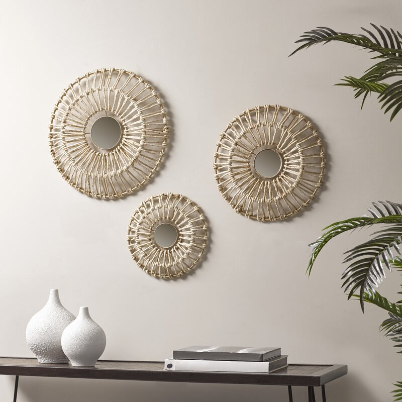 3 Piece Corn Leaves Wrapped Metal Wall Decor Set