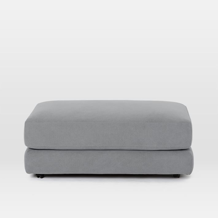 Haven Ottoman, Poly, Performance Washed Canvas, Feather Gray, Concealed Supports